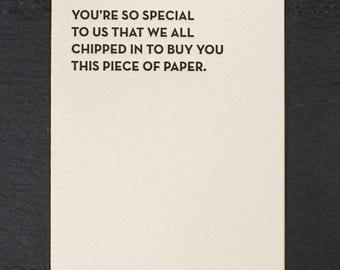 so special. letterpress card. #930