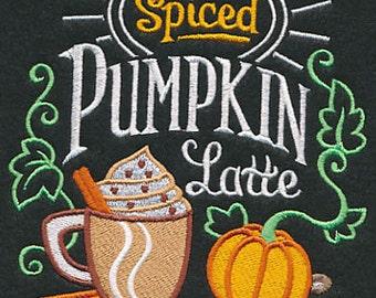 Spiced Pumpkin Latte Black Cotton Kitchen Tea Towel