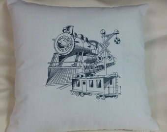 Embroidered Train  pillow