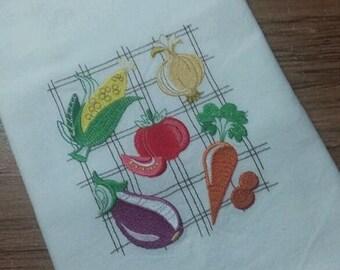 Vegetable collage  White Cotton Kitchen Tea Towel
