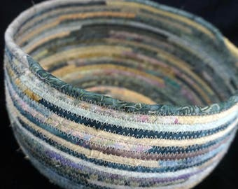 Teal and Beige Handmade Fabric Basket