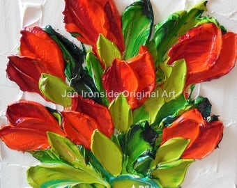 Tulip Oil Painting , Palette Knife Oil  Painting  red tulips