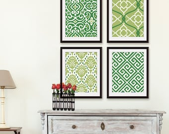 Ikat and Geometric Patterns (Series B) Set of 4 - Art Prints (Featured in Basil and Clover) Modern Art Prints / Custom Colors