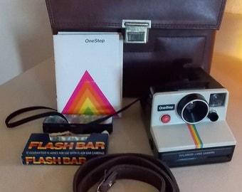 One Step Instant Polaroid Camera & Case, Vintage,