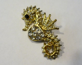 Rhinestone Seahorse Pin Brooch on Etsy by APURPLEPALM