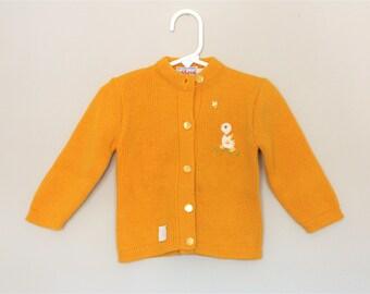Mustard Yellow Duck Cardigan- 2T- NOS