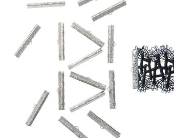 150pcs.  40mm ( 1  9/16 inch ) Platinum Silver Ribbon Clamp End Crimps - Artisan Series