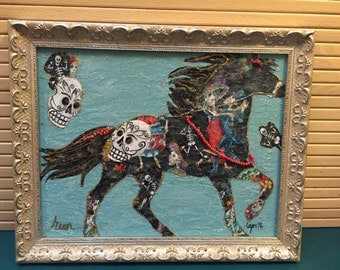 Mixed Media Horse, Framed