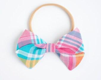 Hair Bow, Bow Headband, Headband, Headbands, Fabric Hair Bow, Hair Clip, Baby Bow, Nylon Headband, Alligator Clip - Aqua, Pink, Yellow Plaid