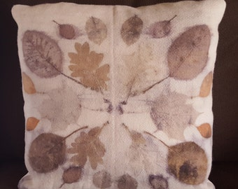 Natural Leaf Printed Pillow, Wool and Cotton