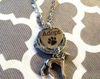 Greyhound Silver Adopt Textured Circle Necklace, Greyhound Adoption Jewelry, Greyhound Jewerly, Greyhound Gifts, Greyhound Adoption, Grey