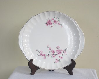 W.S. George Handled Cake Platter, Mid Century Peach Blossom Bolero Pattern Serving Plate, Shabby Cottage Kitchen Pink Flowers on a Branch