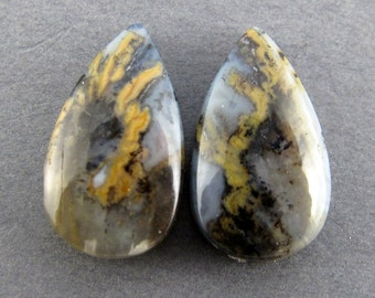 Rare Sheep Creek Plume Agate Designer Cabochon Matched Pair