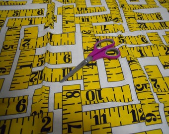 Vintage 70s-80s FANTASTIC giant rulers novelty fabric