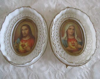 Sacred Heart Jesus and Mary Wall hanging set of 2