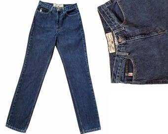 Vintage Denim Guess Jeans / 90s High Waisted Jeans Dark Denim Jeans / Womens Jeans Slim Fit Straight Leg Jeans Mom Jeans Vintage Jeans 29 W