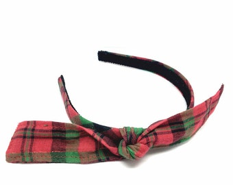 Headband with Tied Knot Bow - Christmas Plaid Headband - Red and Green Holiday Bow Headband for Adults and Girls, Blair Waldorf Inspired