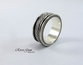 Mens Spinner Ring, Sterling Silver, Mans Wide Band, Patterned Ring, Wedding Band, Size 11.25, Commitment Ring, RiverGum Jewellery