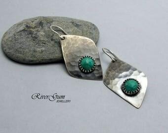 Turquoise Earrings, Long Sterling Silver Earrings, Gemstone Earrings, Earthy Rustic Primitive Tribal Textural, Artisan Silver Earrings