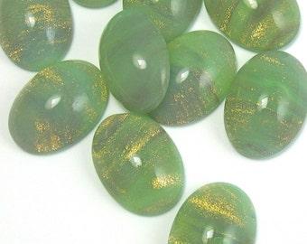 Vintage Glass Cabochon 6 pcs 18x13 mm  Green Opal Stones S-89