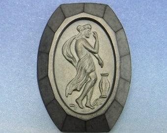 RARE Cameo Vintage Glass Cameo Matte Hematite Cabochon Stone Cabs Grecian Lady Lot 55