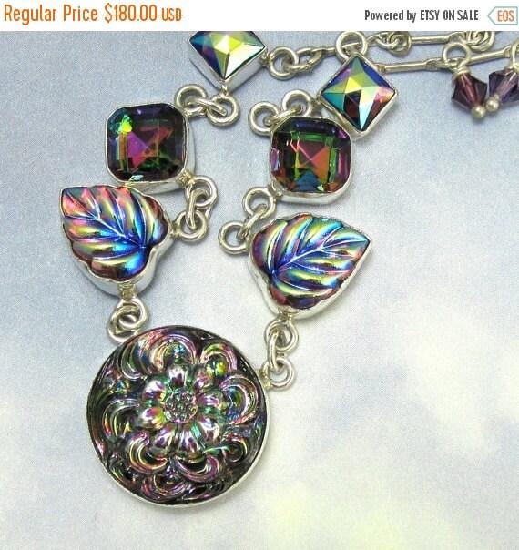 20% OFF SALE Sterling Silver Necklace Art Deco Purple Leaf Flowers Vintage Glass Necklace 611