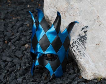 Black and Blue Jester Diamond Harlequin Leather Masquerade Mask