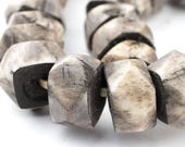 40 Grey Bone Beads: Faceted Shaped Beads Rustic Bone Beads Kenya Trade Beads Big Bone Beads Beaded Wall Hanging (BON-RND-GRY-368)