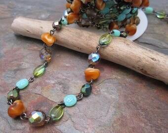 Fairy Forest Czech Glass Mixed Bead Gunmetal Chain, Bestseller
