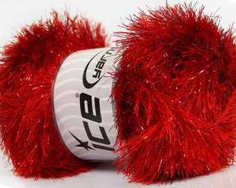 ICE YARNS eyelash dazzle red metallic lurex 1 skein 100gr polyester fancy bulky shimmering knitting crochhet supplies 42264