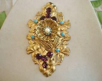 Flower  Rhinestone Blue Amethyst Pearl  Brooch Gold Tone KL Design