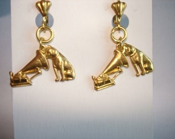 Dog Master Voice Gold tone Earrings