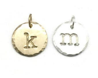 Sterling Silver Initial Disc Charm - Gold Personalized Initial Charms - Custom Silver Initial Charm - Add On Charm