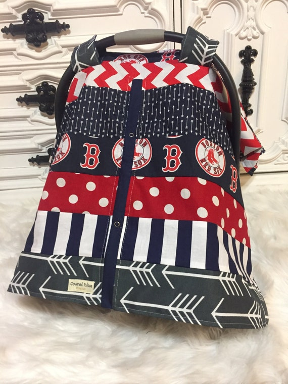 Boston Red Sox car seat cover / OOAK / red sox / carseat canopy / nursing cover / car seat canopy / carseat cover
