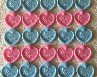 Love Heart Peel  and Stick Flexible Wax Seals, 1.2 Inches in Size with One Inch Adhesive in Lavander