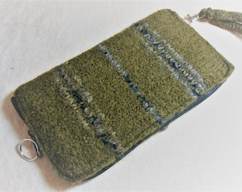 Smart phone wallet in olive green felted wool