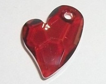 Swarovski Crystal Pendant 17x13mm Devoted 2 U Heart Crystal Pendant -- Red magma -- 1 piece
