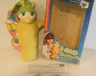 Glo Butterfly Worm Plush Doll w/ Box & Instructions Vintage Playskool - works! Glow Worm Glo Friends