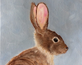 "Brown Bunny, 8"" x 8"" original oil painting on Centurion Linen Panel. Yvonne Wagner. Easter Bunny painting. Nursery decor."