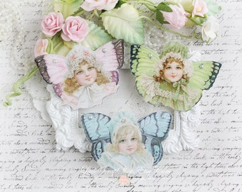 Fairy Girls Die Cut Embellishments in Pastels  for Scrapbooking, Cardmaking, Mixed Media, Altered Art