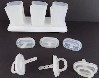 Vintage Tupperware Ice Tups Popsicle Maker 6 Tups with Tray Frozen Treat