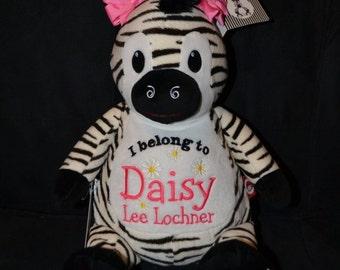 Zebra Birth Announcement Baby Keepsake Plush Stuffed Animal Cubbie Personalized