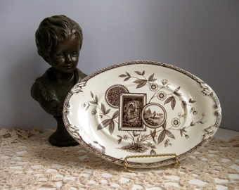 Antique brown transferware dish Ironstone brown and white dish