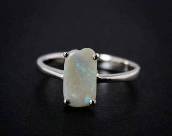 50% OFF SALE - Silver White Australian Opal Rings - Free Form - 925 Sterling Silver