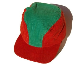 Vintage 50s Hat Mens Workwear Red & Green Two Tone Sports Cap Ear Flaps