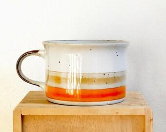 Vintage 1970s Ceramic Soup Bowl Stripes Cup Large Mug Orange 70s Kitchen Decor.