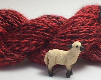 """Hand-Spun 100% Wool Yarn """"Heathered Red"""" Hand-Washed, Carded, Spun and Painted, 2 ply, Knit, Crochet, Weave, Aran & Worsted 142 yds"""