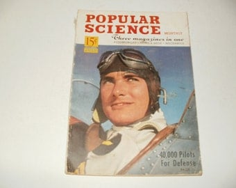 Vintage Popular Science Magazine July 1941 - Cool Old -Timey Experiments, Inventions, Scrapbooking, Collectible