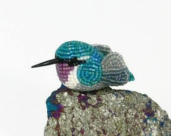 Hummingbird Figurine Teal Blue and Purple Minature Beaded Bird Animal Totem *READY TO SHIP