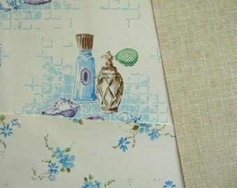 Vintage Wallpaper Bathroom Bedroom Blue Perfume Bottles Home Decor Wall Art 3 Sheets 18 x 12, 1960s